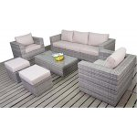 Luxan Rustic Grey Rattan Large Sofa Set