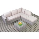 Luxan Rustic Grey Rattan Small Corner Sofa