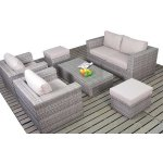 Luxan Rustic Small Sofa Set with Coffee Table and Footstools