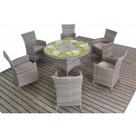 Luxan Rustic Round Dining Table with 6 Chairs