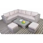 Luxan Rustic Large Corner Sofa Set with Coffee Table and Footstools