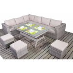 Luxan Rustic Corner Sofa with Dining Table and Footstools
