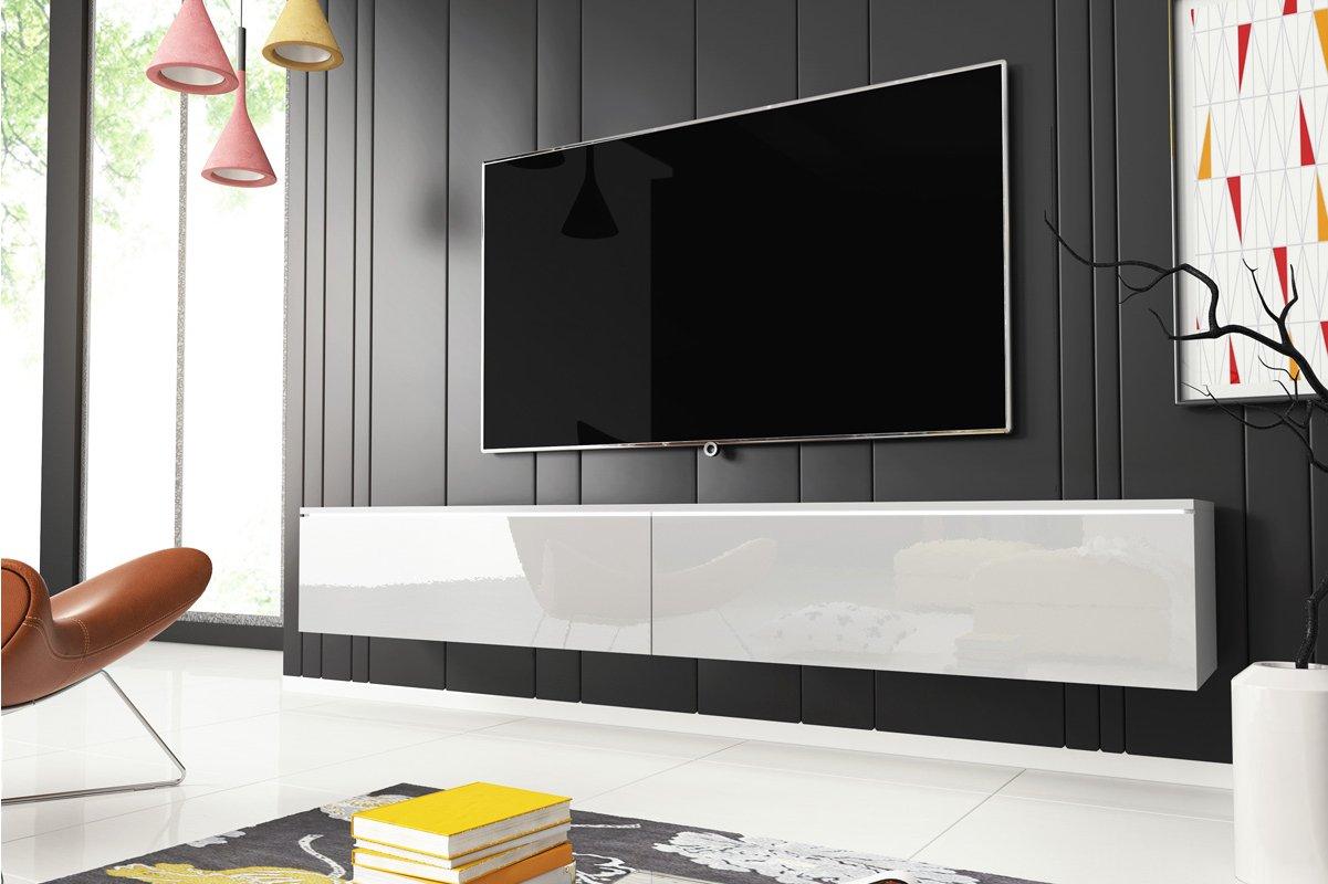 Selsey Kane 1800 Tv Stand For Tvs Up To 90 With Led Lighting Kit White Matt Gloss