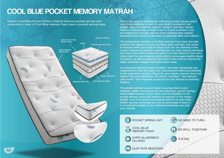 Sareer Furniture Sare Coolmpckt 46 Cool Blue Pocket Memory Mattress Medium Firm Double 4ft6