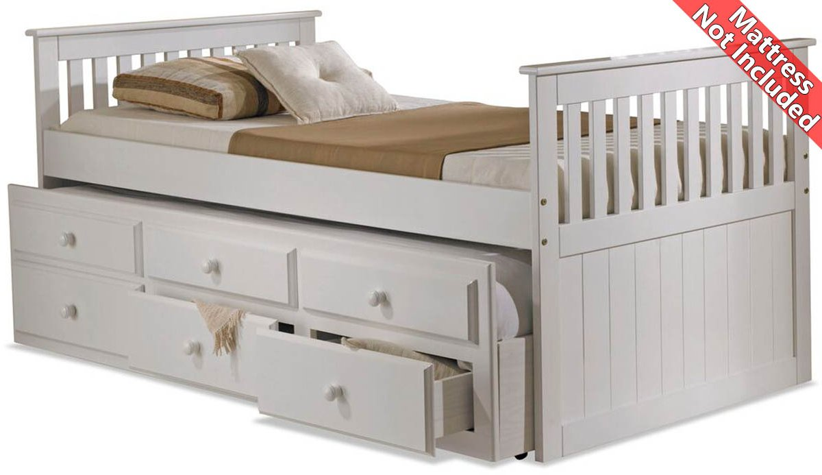 Amani Capbed Ubed White Captain Guest Single Slat Bed With Trundle And Storage 3 Drawers