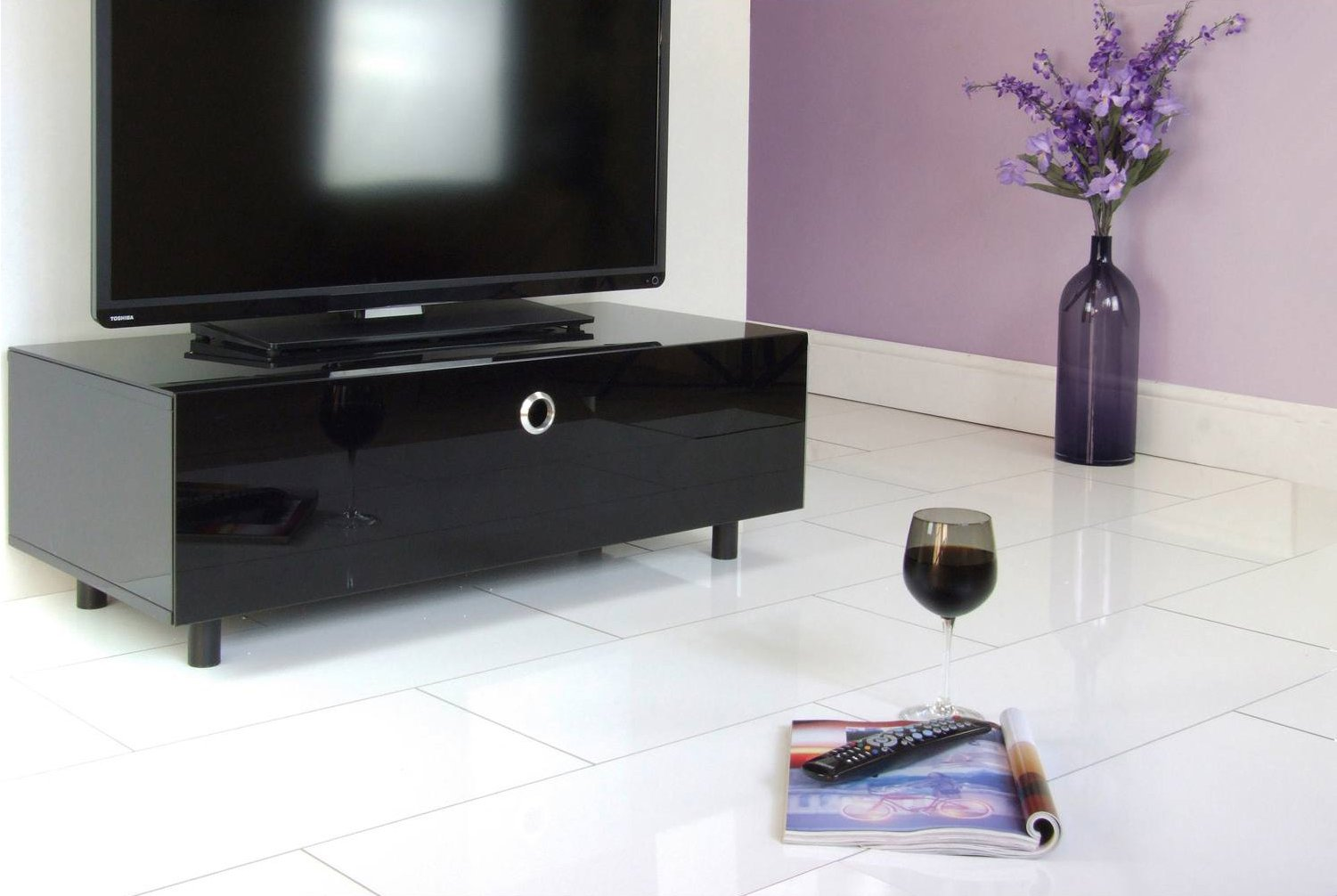 Cubic 1000 Black Tv Cabinet With Beamthru # Meuble Hifi Tv Design
