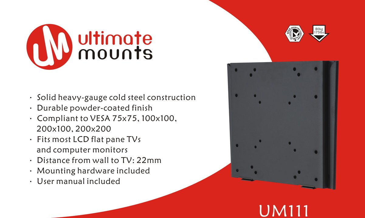 Ultimate Mounts Um111 Flat Tv Wall Brackets