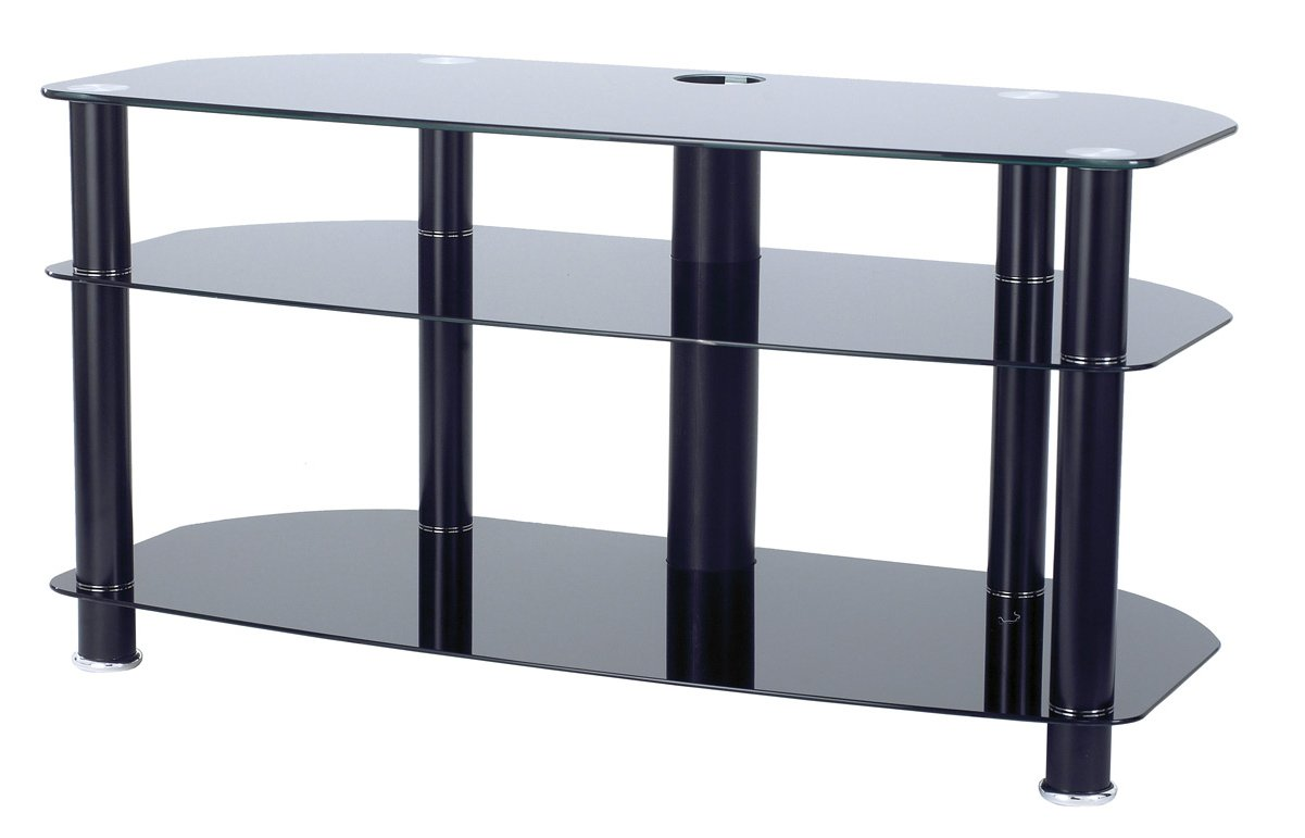 alphason black glass tv stand for up to 42 tvs. Black Bedroom Furniture Sets. Home Design Ideas