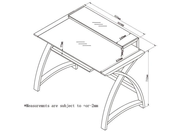 Jual Helsinki Curved Compact Walnut And Black Desk Alternative Image