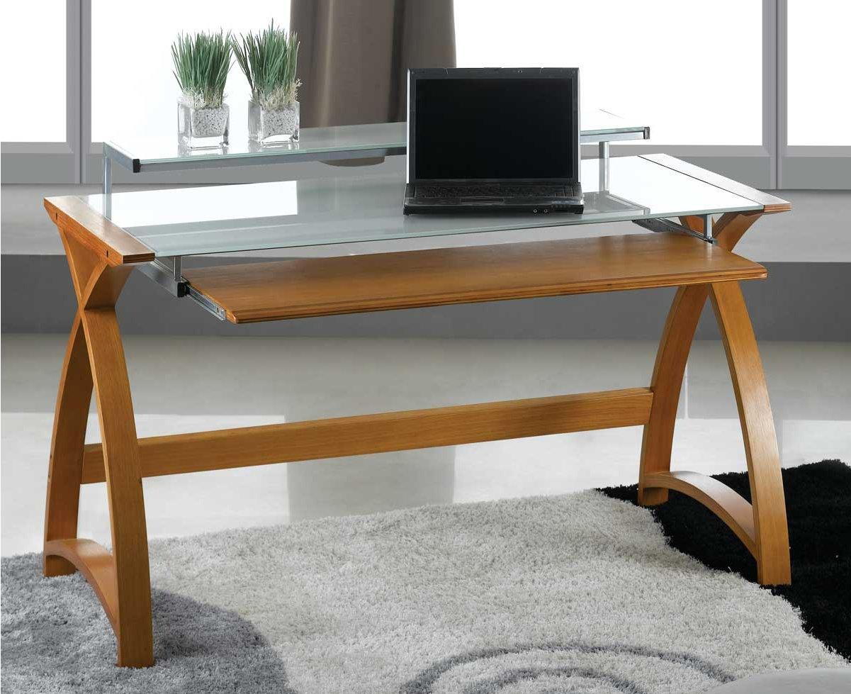 Jual Helsinki Curved Compact Oak And White Glass Desk Alternative Image