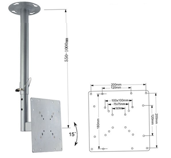 Telescopic Tilting Ceiling Mount