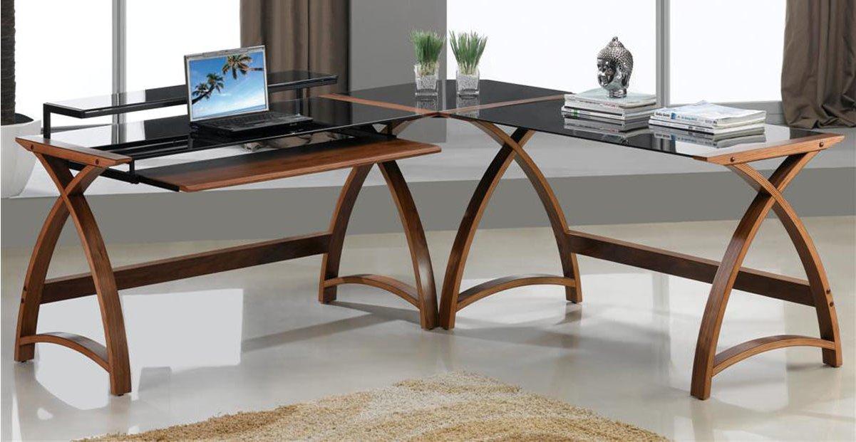 Jual Helsinki Curved Walnut And Black Desk Main Image