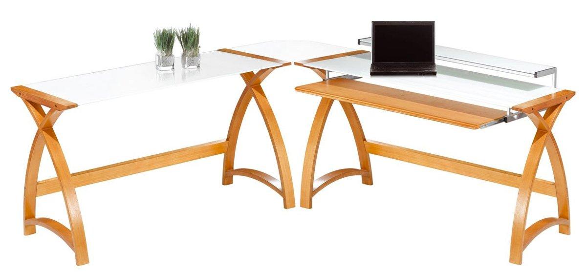 Jual Helsinki Curved Oak And White Glass Laptop Desk Alternative Image