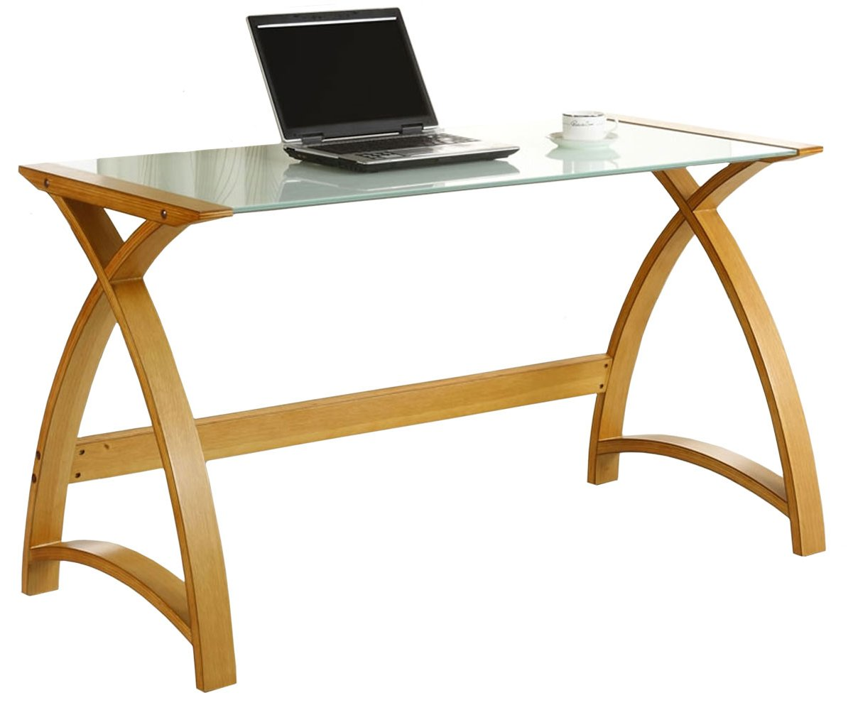 Jual Helsinki Curved Oak And White Glass Laptop Desk Main Image