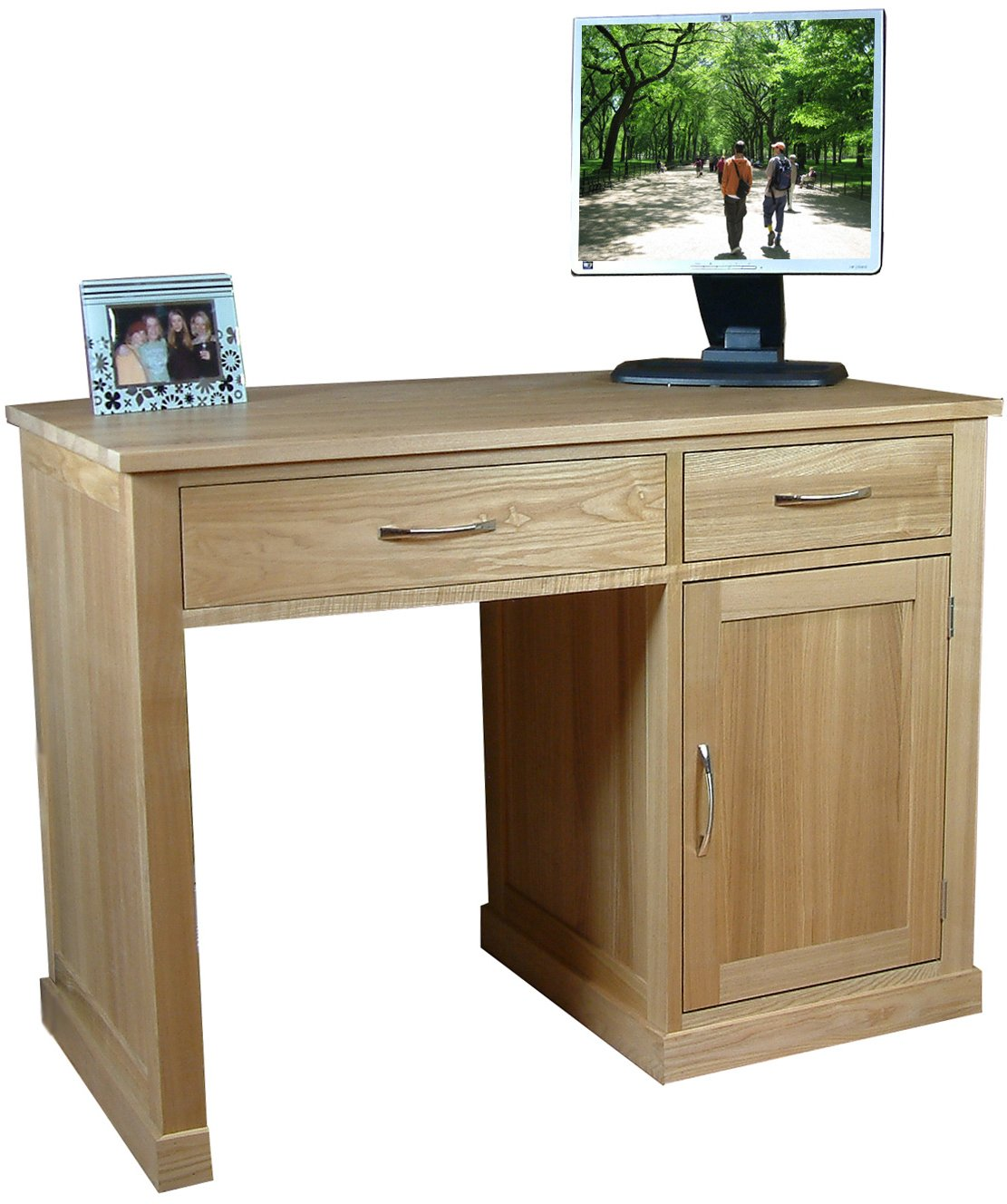 Mobel oak single pedestal computer desk for Mobel