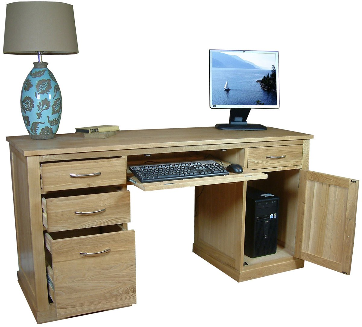 mobel oak twin pedestal computer desk main image alternative image alternative image alternative image