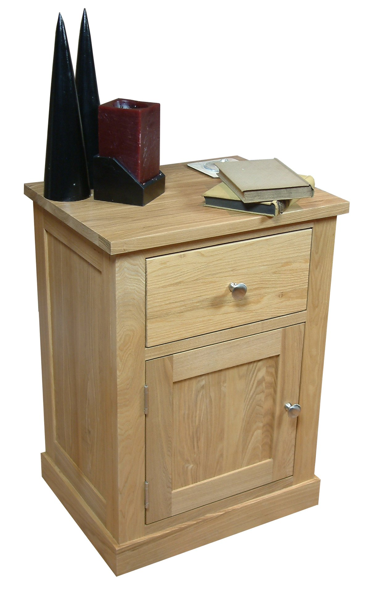 mobel oak one door one drawer lamp table main image