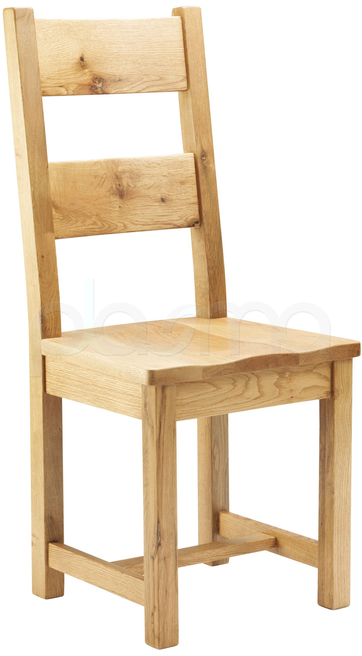 Chunky Oak Dining Chair With Wooden Seat