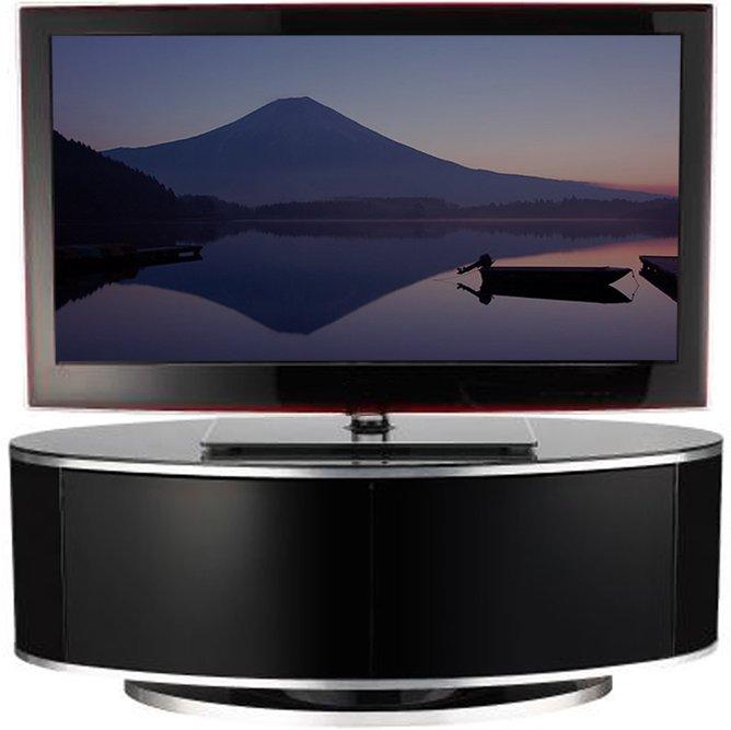 Luna High Gloss Black Oval Tv Cabinet Main Image Alternative