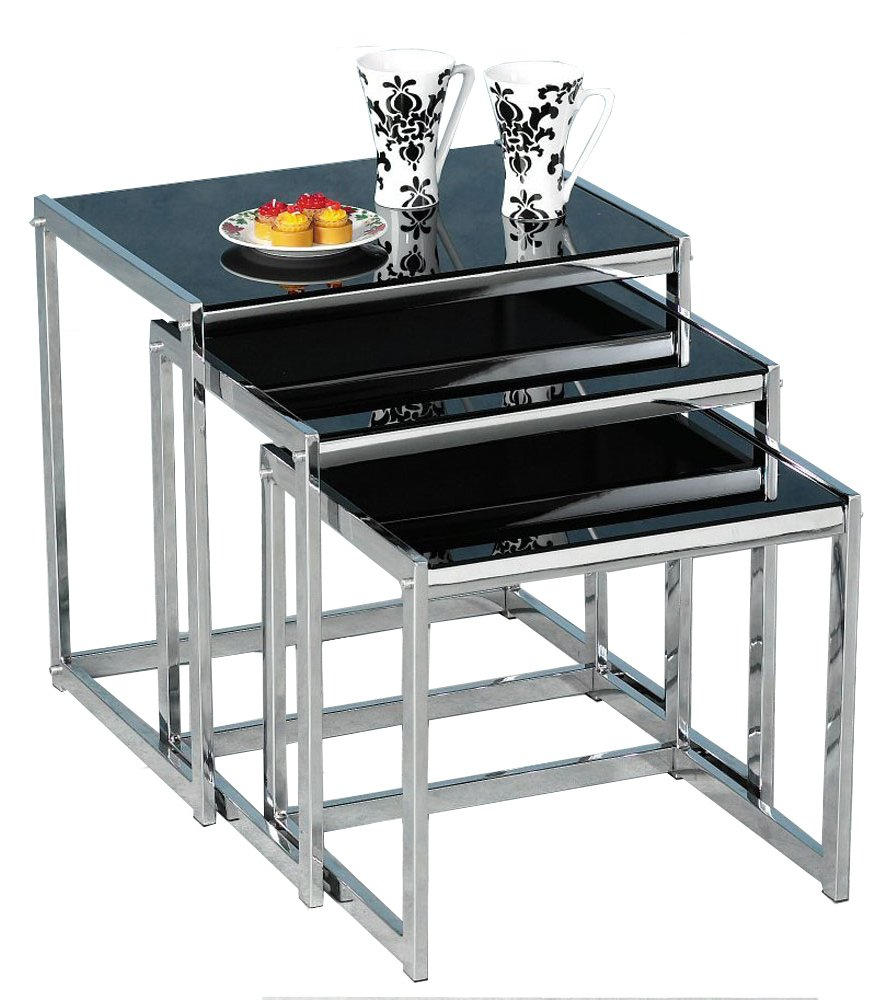 Novella Black Glass And Chrome Nest Of Tables