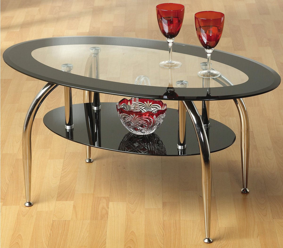 Black And Chrome Coffee Table Set: Caravelle Black Glass Coffee Table With Chrome Legs