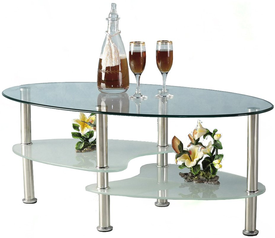 Cara Oval Clear And Frosted Glass Coffee Table Main Image