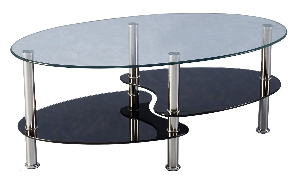Cara black and clear glass coffee table Clear coffee table