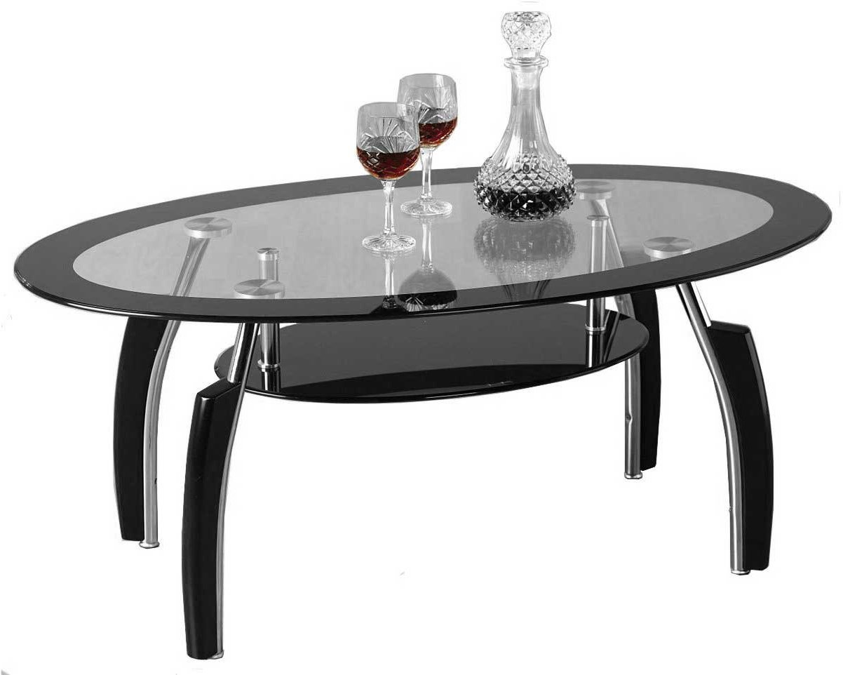 Glass Coffee Tables ~ Elena black and clear glass coffee table