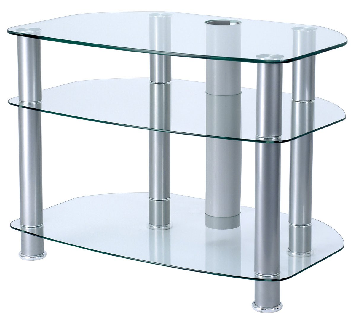alphason clear glass tv stand for up to 32 tvs. Black Bedroom Furniture Sets. Home Design Ideas