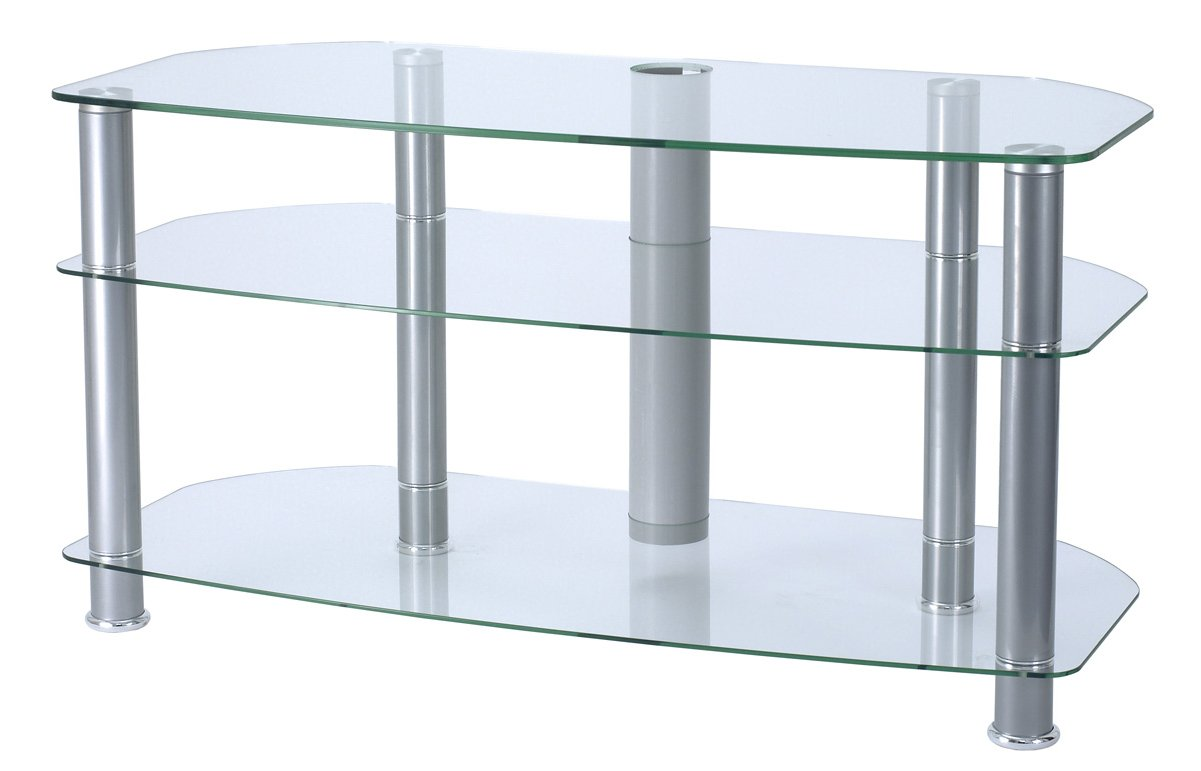 Alphason Clear Glass Tv Stand For Up To 42 Tvs
