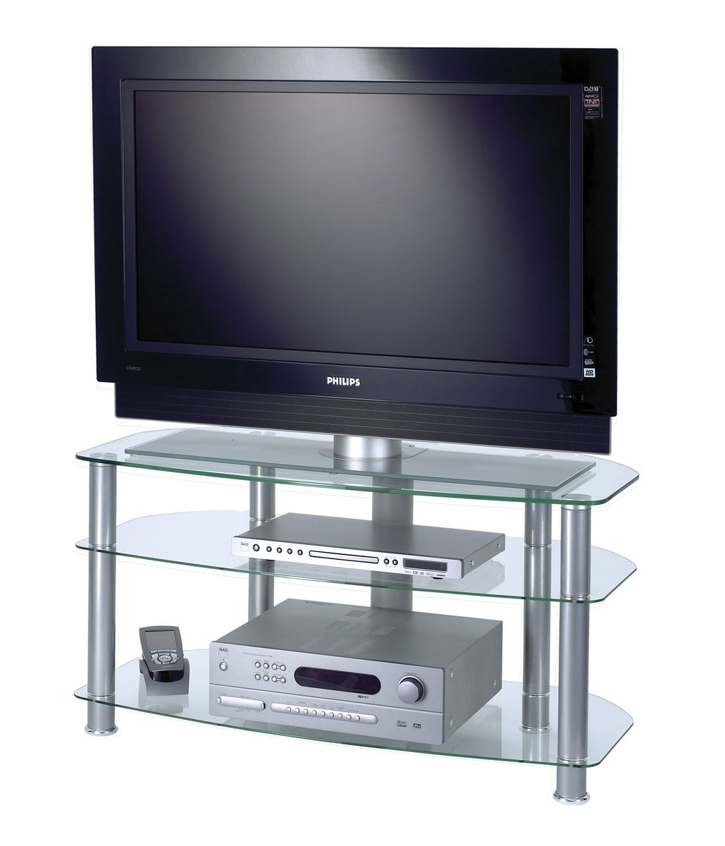 alphason clear glass tv stand for up to 42 tvs. Black Bedroom Furniture Sets. Home Design Ideas