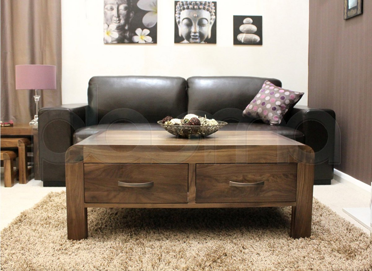 Shiro Walnut Four Drawer Coffee Table ~ Crawford Top-grain Leather Reclining Sofa