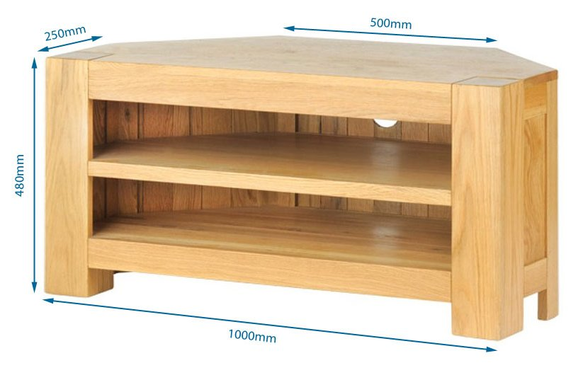 solid oak chunky corner tv unit avt02. Black Bedroom Furniture Sets. Home Design Ideas