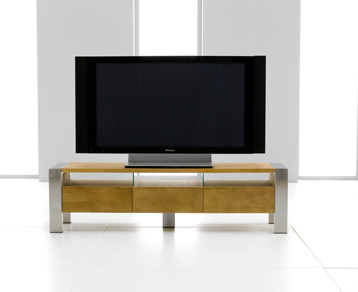 ohio oak 3 drawer tv stand with chrome legs. Black Bedroom Furniture Sets. Home Design Ideas