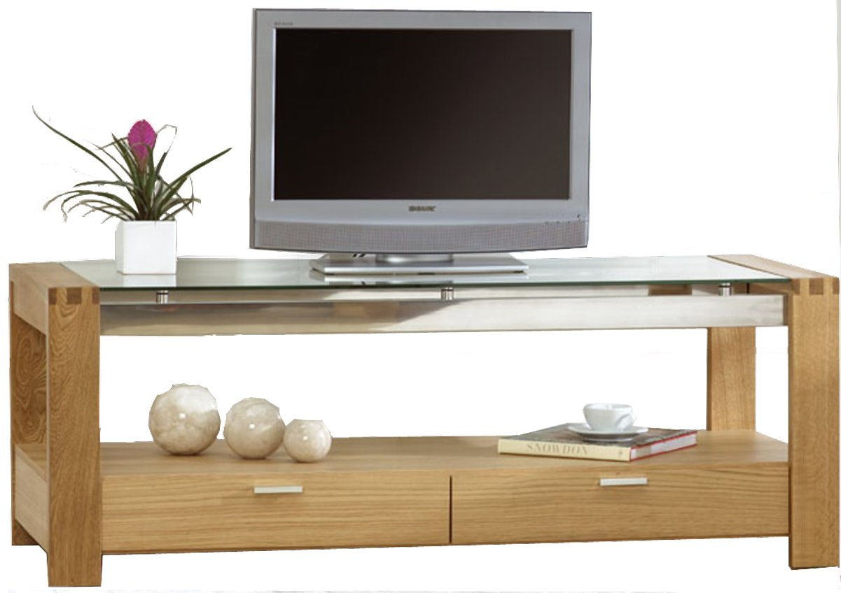 mark harris roma oak and clear glass tv stand. Black Bedroom Furniture Sets. Home Design Ideas