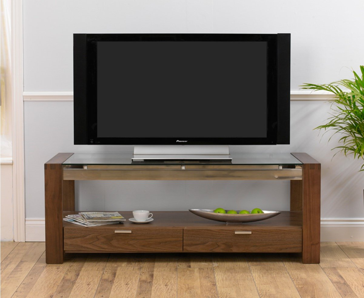 mark harris roma walnut and clear glass tv stand. Black Bedroom Furniture Sets. Home Design Ideas