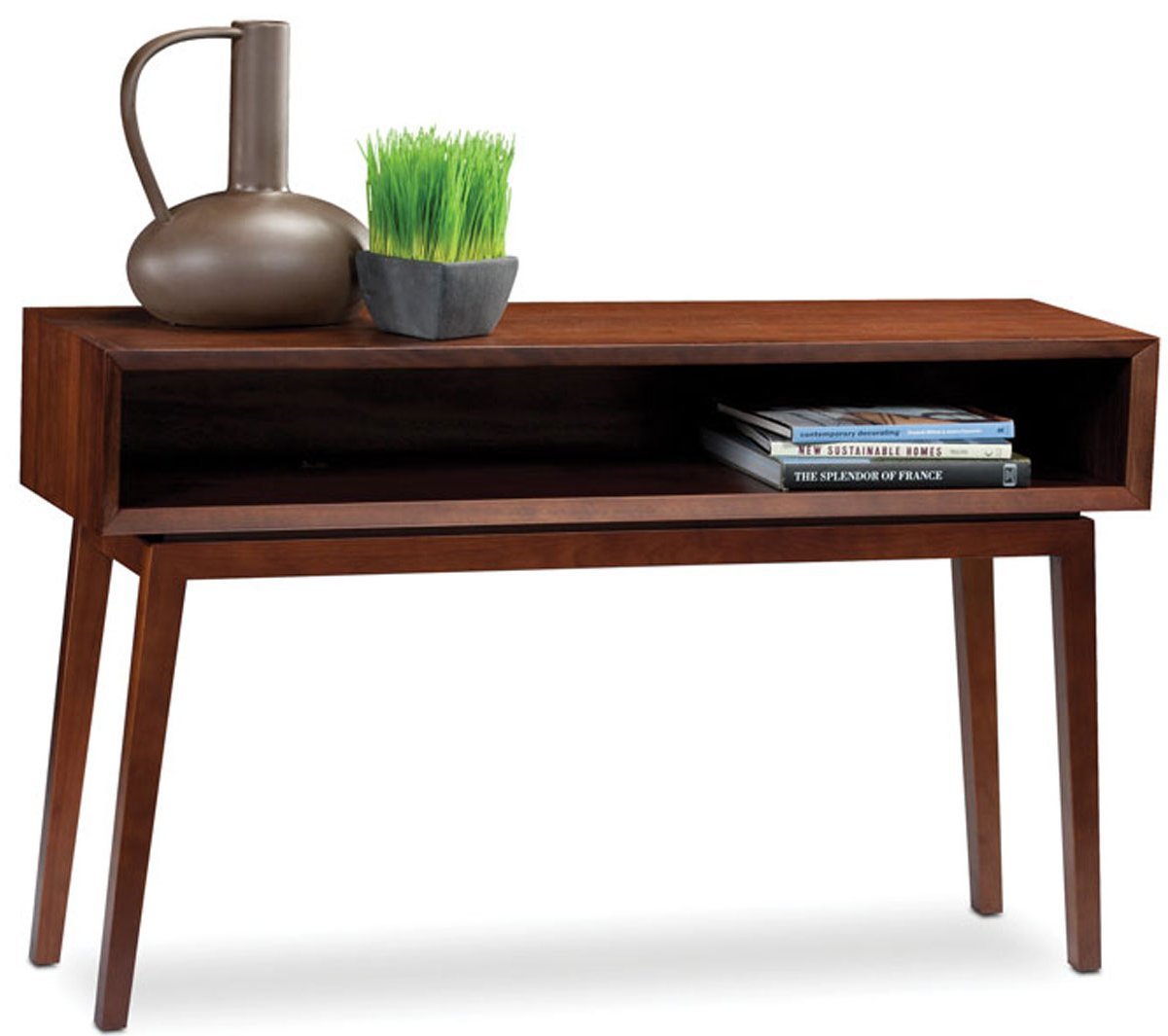 Charming BDI Retro Console Table In Chocolate Walnut Main Image