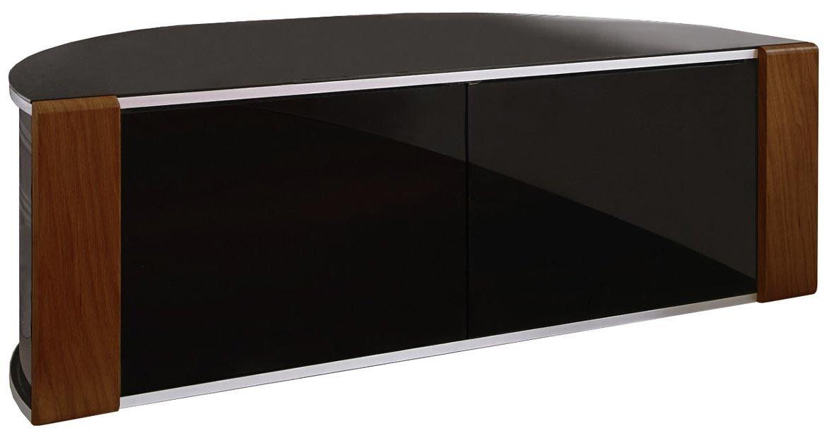 Tv Corner Cabinet Black : Sirius Black And Walnut Corner Tv Cabinet