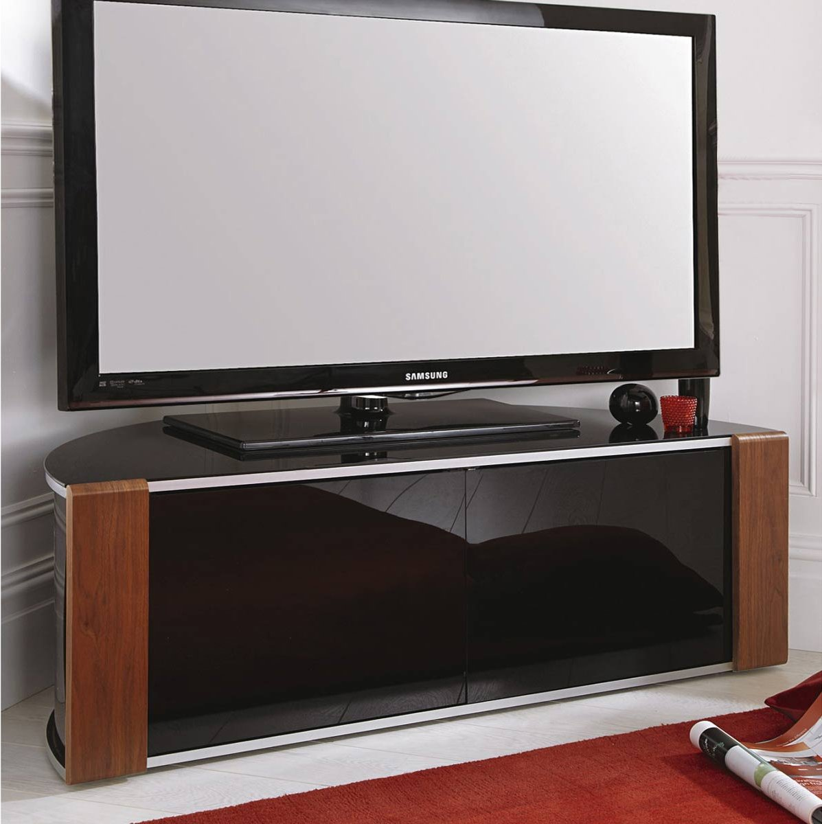 sirius 1200 black and walnut corner tv cabinet. Black Bedroom Furniture Sets. Home Design Ideas
