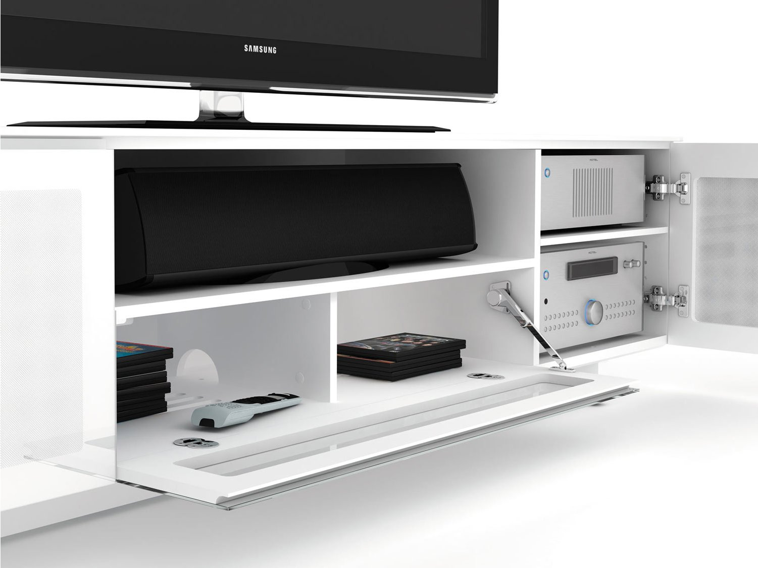Bdi Nora 8239 W Luxury Gloss White Tv Cabinet