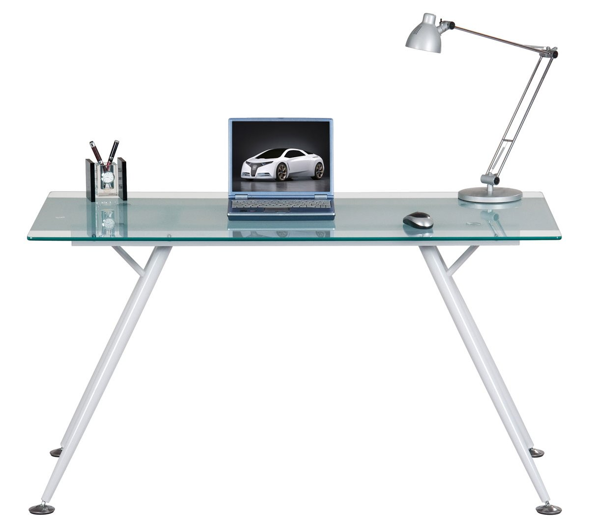 Alphason Springfield Clear Glass Computer Desk Alternative Image