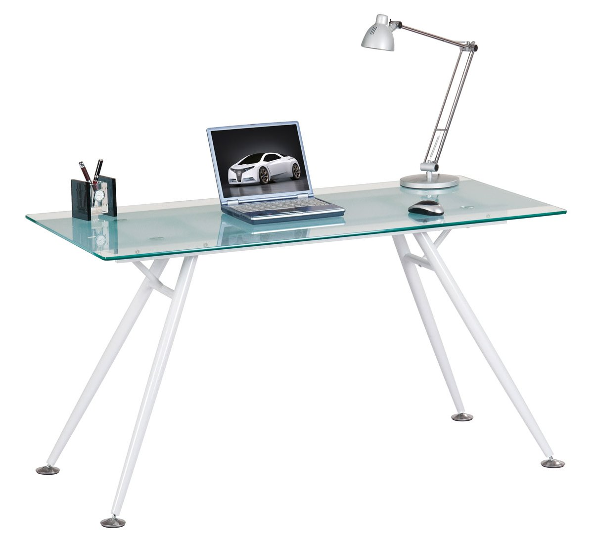 Alphason Springfield Clear Glass Computer Desk Main Image