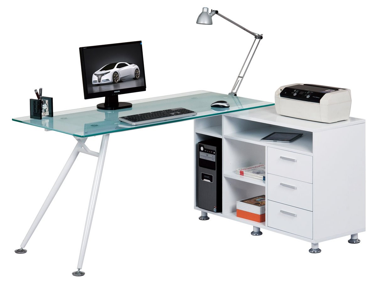 Alphason Aw13366a Cl Augusta Frosted Glass Corner Desk