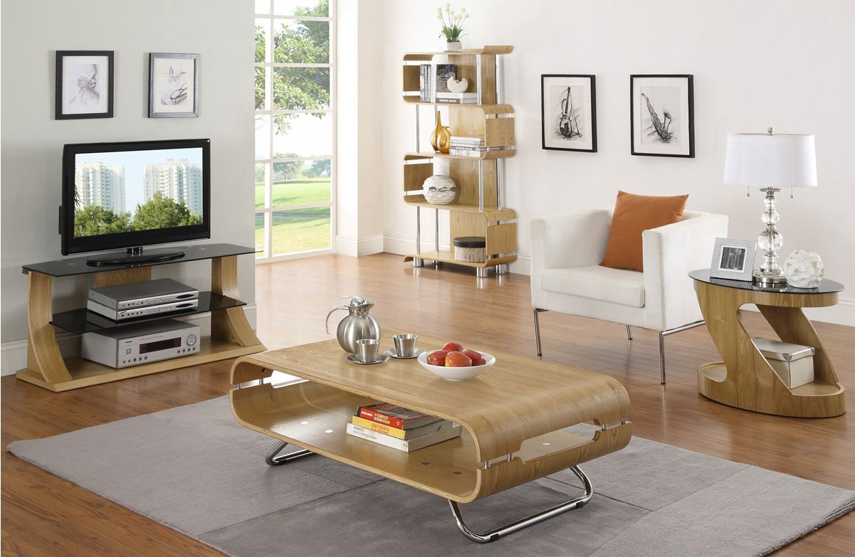 Jual Florence Curved Oak TV Stand For Up To 50\