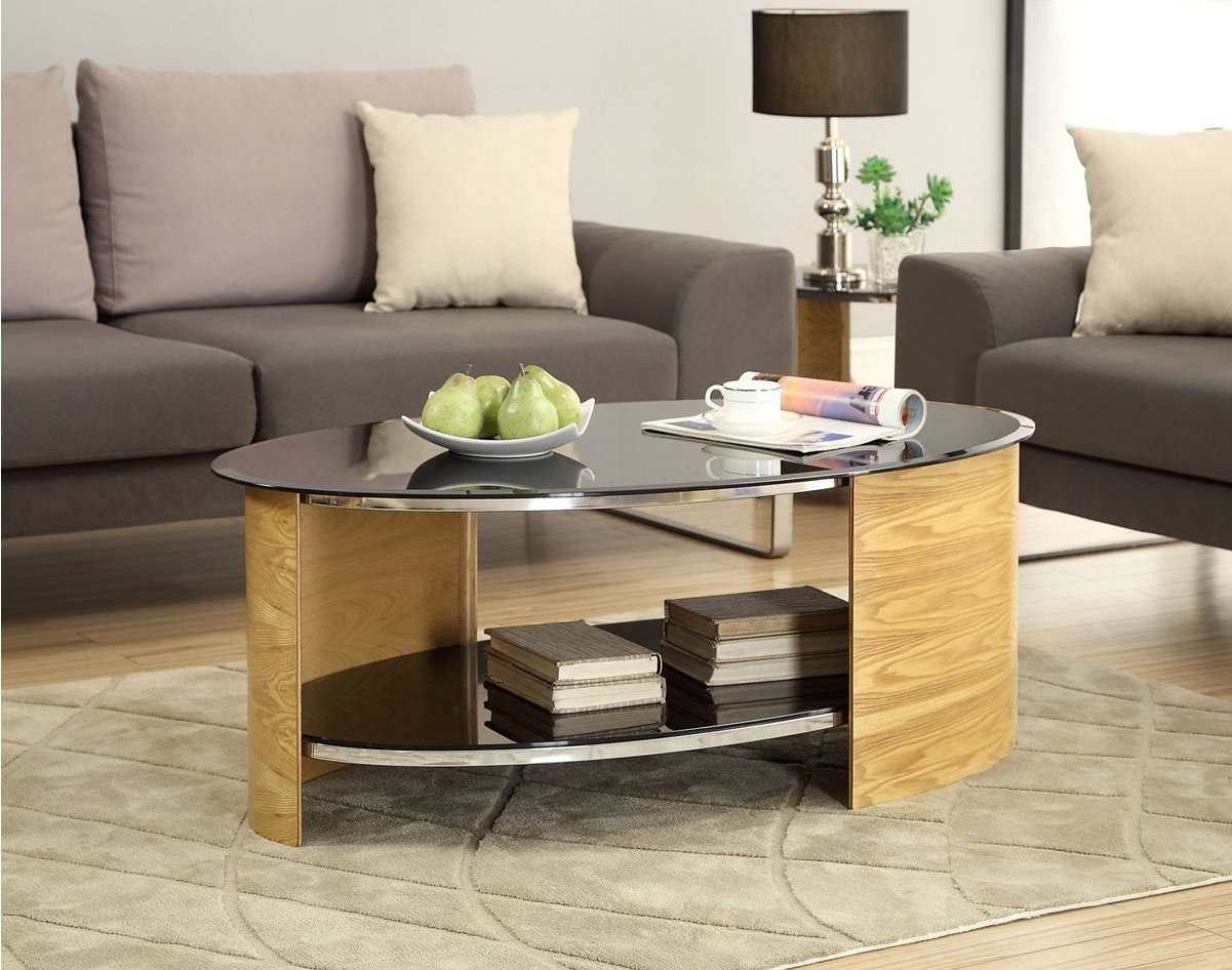Jual San Marino Black Glass And Oak Coffee Table Alternative Image
