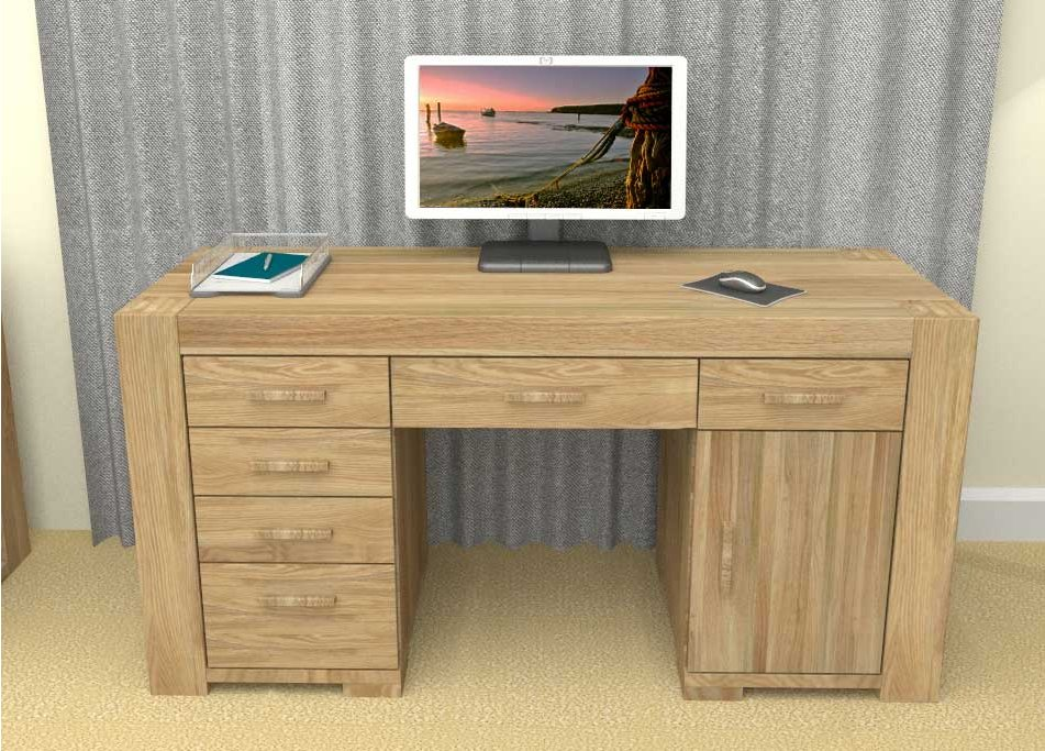 baumhaus cmr06b atlas solid oak twin pedestal computer desk