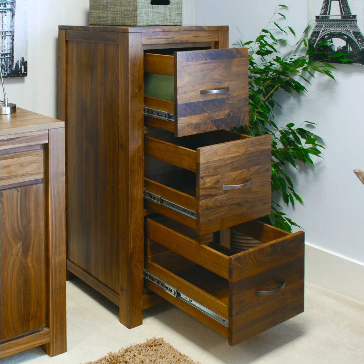 Baumhaus CWC07B Mayan Walnut Filing Cabinet