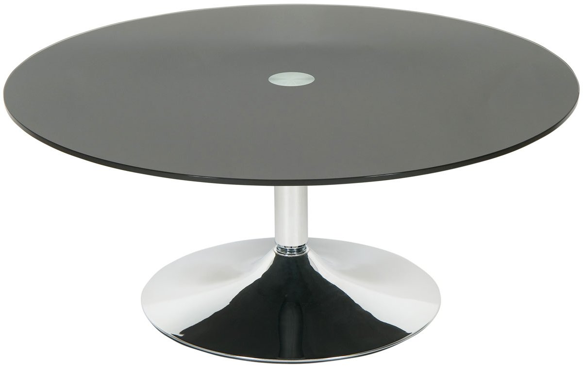 Levv Rocofbc Roma Black Glass Round Coffee Table