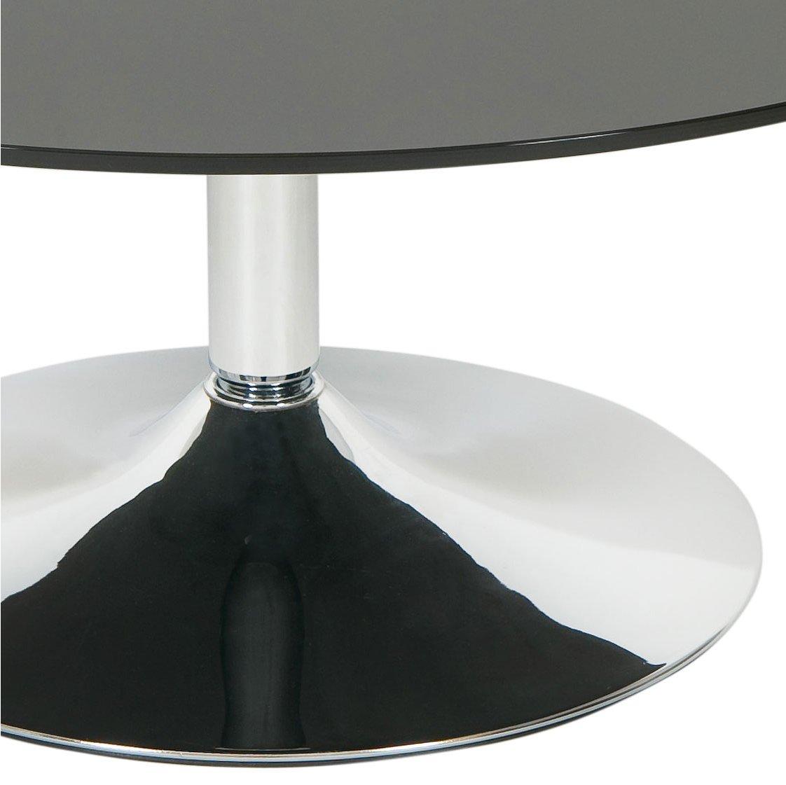 Black Glass Round Coffee Table: LEVV ROCOFBC Roma Black Glass Round Coffee Table