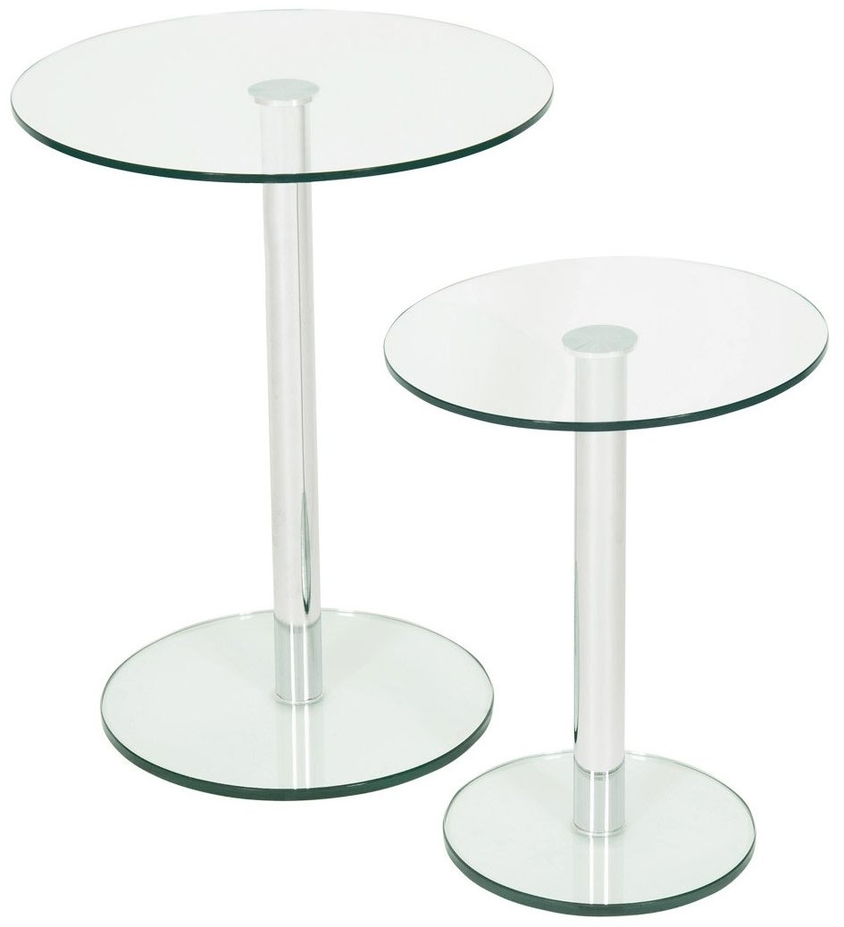 levv rosid2cc roma clear glass round lamp tables. Black Bedroom Furniture Sets. Home Design Ideas